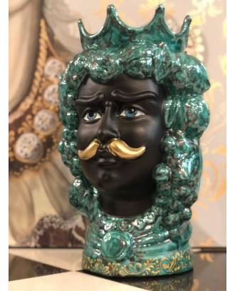 Testa in Ceramica Re Verde Rame Viso Opaco