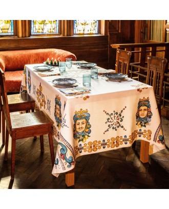 Tovaglia da tavola in lino stampato Teste di Moro
