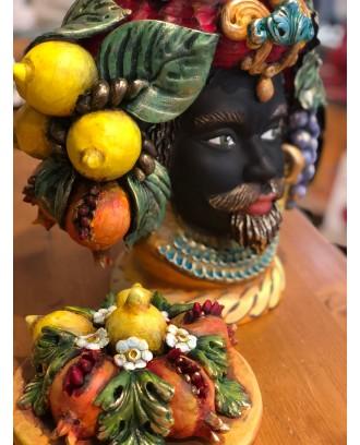 Testa di Moro in ceramica con tappo finitura opaca Re