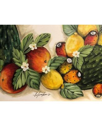 Tela dipinta a mano acrilico Bellezze di Sicilia
