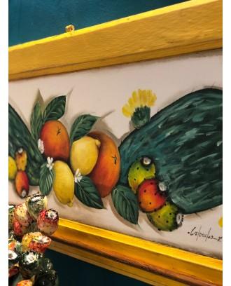 Anta dipinta a mano con ganci Fichi e Agrumi di Sicilia