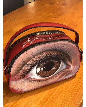 Borsa in ecopelle rossa occhio Marrone