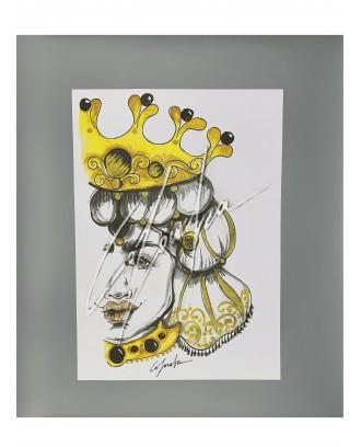 Litografia Oro Nero Queen