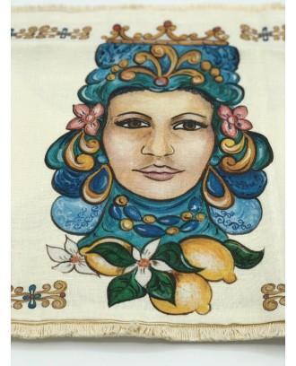 Cuscino Lino stampato fronte retro con imbottitura